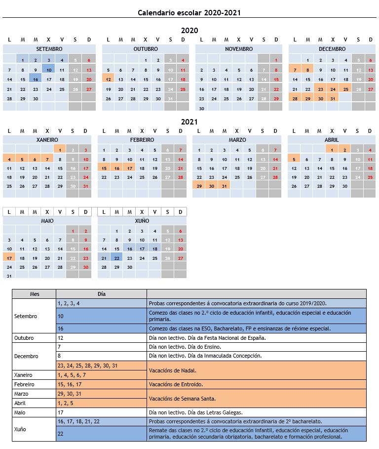 Calendario escolar 2020-2021 Xunta de Galicia
