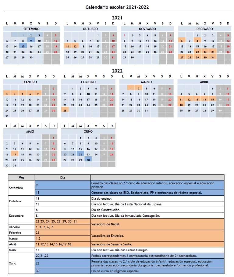 Calendario escolar Xunta de Galicia curso 2021-2022