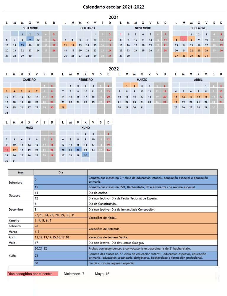 Calendario escolar FP 2021-2022 Chíos Formación